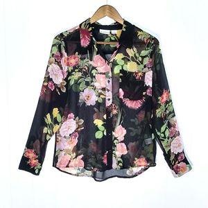 Liz Claiborne Sheer Floral Button Down Blouse